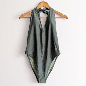 Aerie Sage Green Halter Bathing Suit NWT